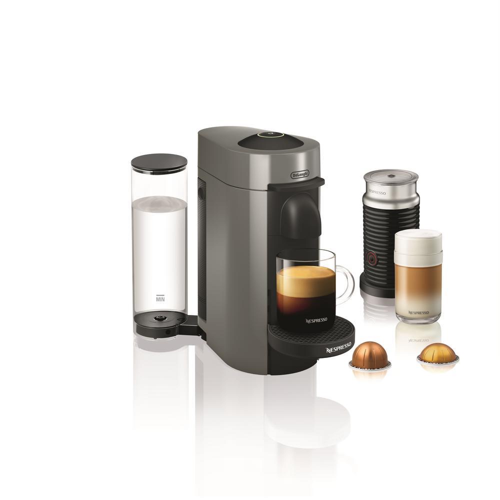 Nespresso Vertuo Plus Single Serve Coffee and Espresso Machine by De'Longhi with Aeroccino in Grey