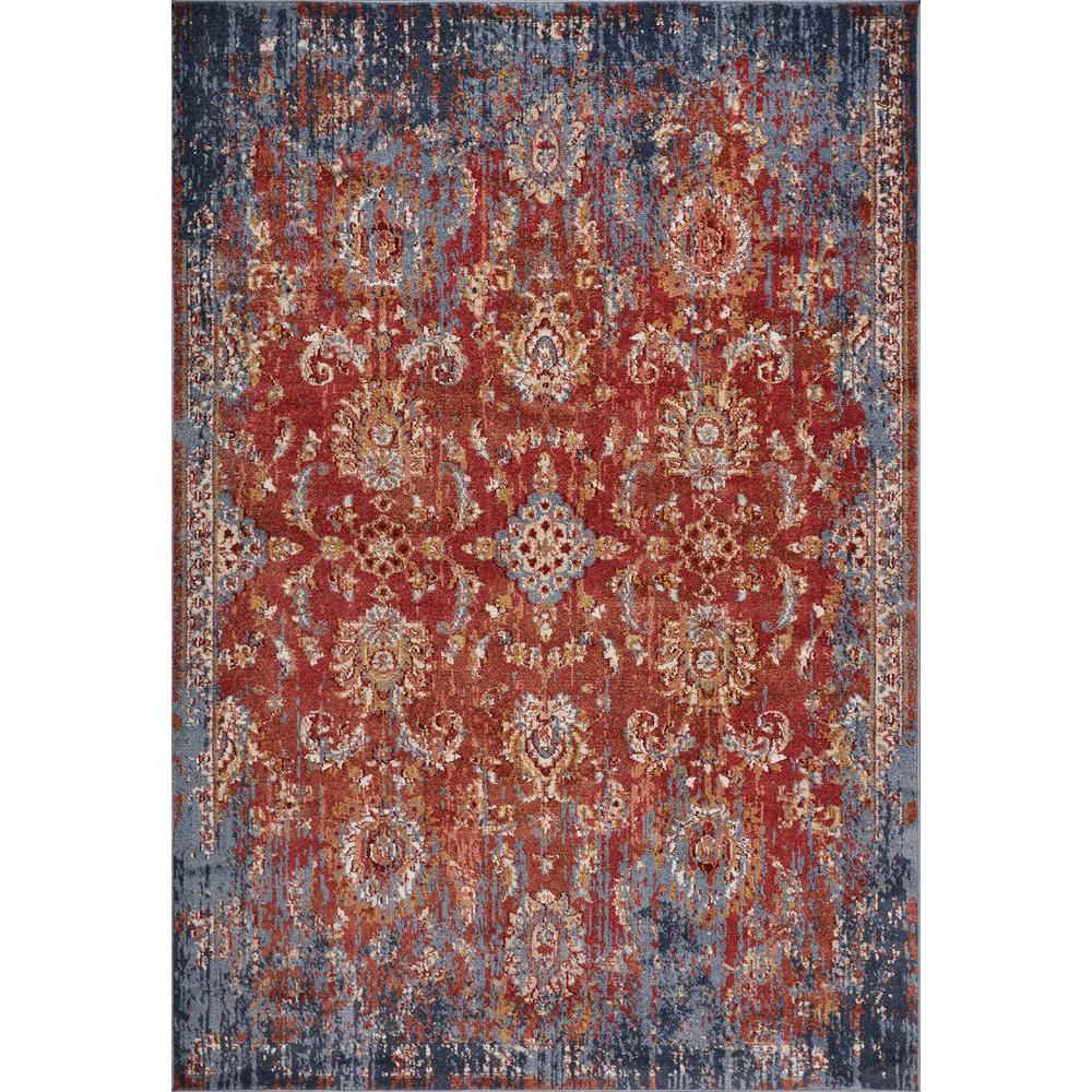 Kas Rugs Manor Spice/Blue Expressions 5 ft. x 8 ft. Distressed Area Rug, Spice Red was $171.0 now $94.05 (45.0% off)