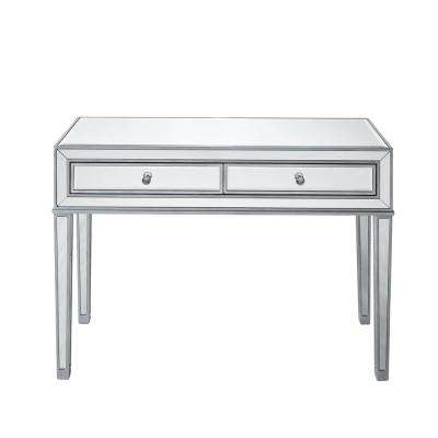 Amazing Antique Silver Paint Finish Desk With 2 Drawers, Rectangle Mirror