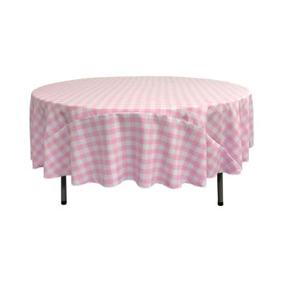 72 in. White and Pink Polyester Gingham Checkered Round Tablecloth