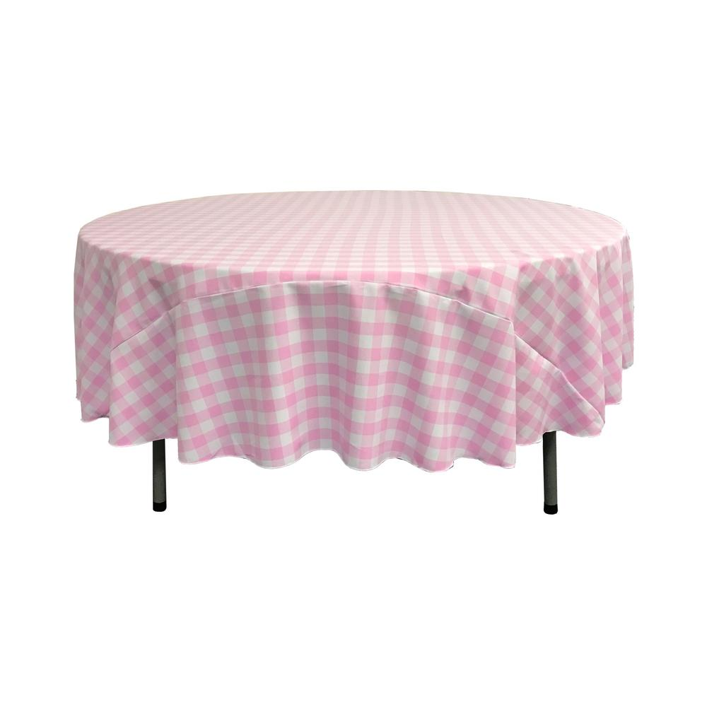 LA Linen 90 In. White And Pink Polyester Gingham Checkered Round Tablecloth