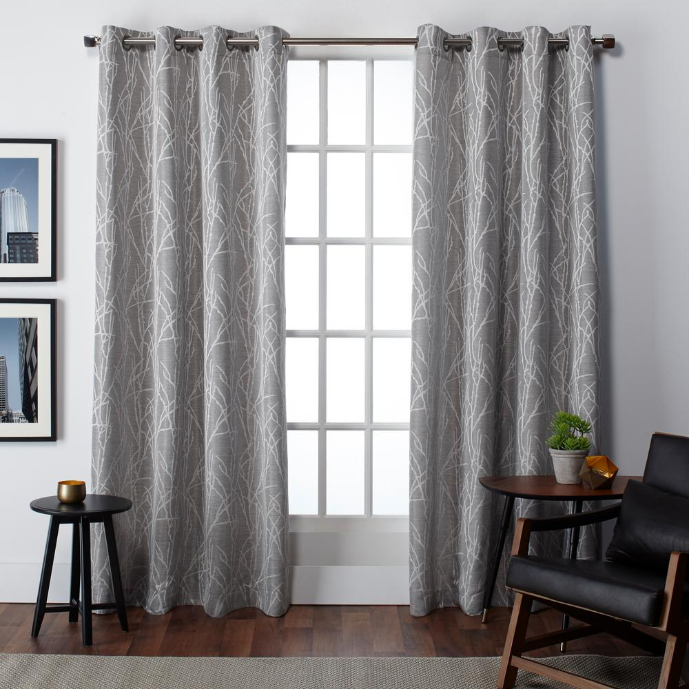 Finesse Ash Grey Grommet Top Window Curtain