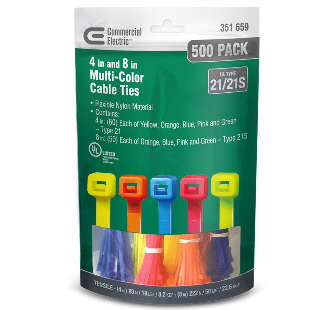 Commercial Electric 4 in. and 8 in. Cable Tie Canister - Assorted (500-Pack)