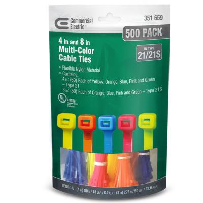 4 in. and 8 in. Cable Tie Canister - Assorted (500-Pack)