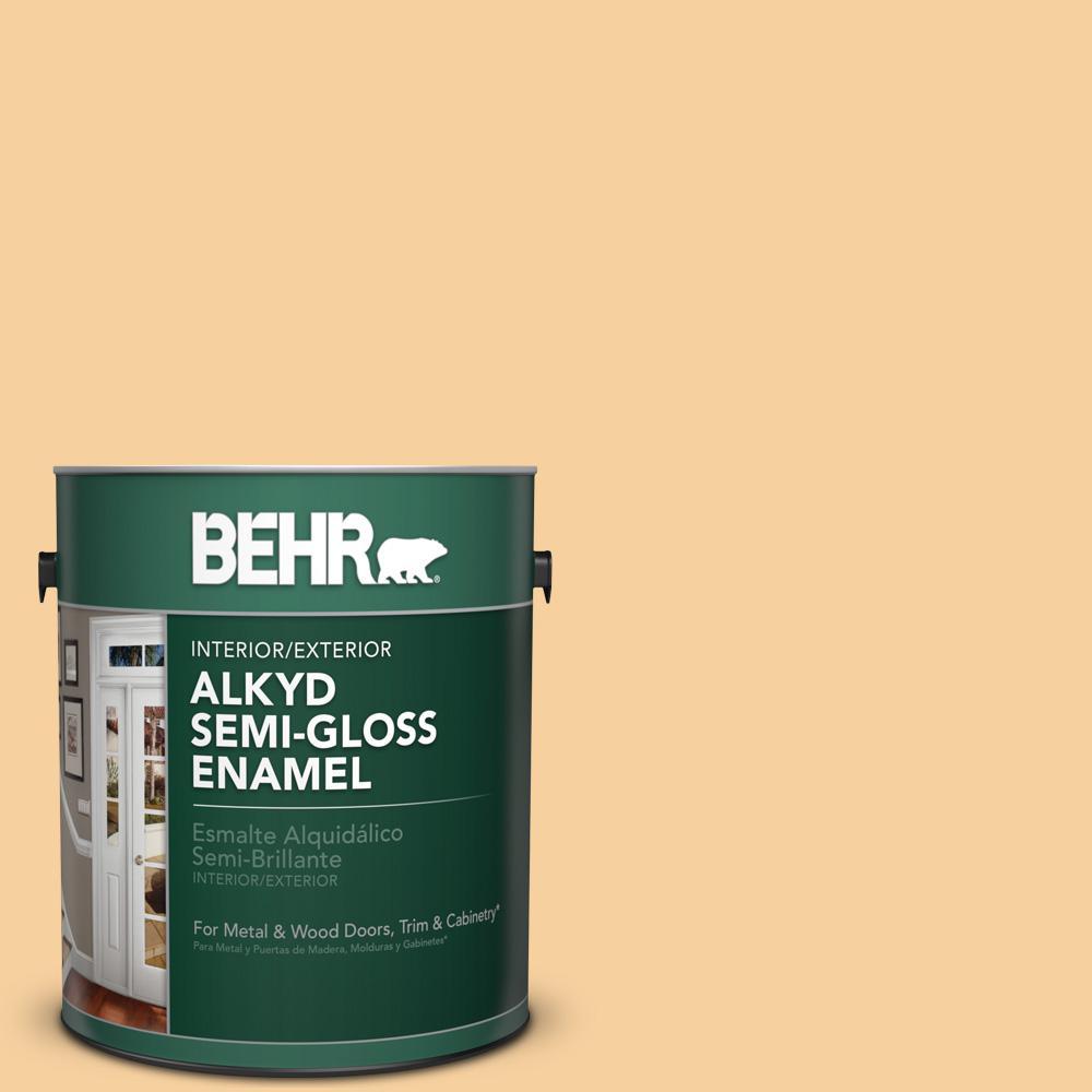 1 gal. #320C-3 Honey Butter Semi-Gloss Enamel Alkyd Interior/Exterior Paint