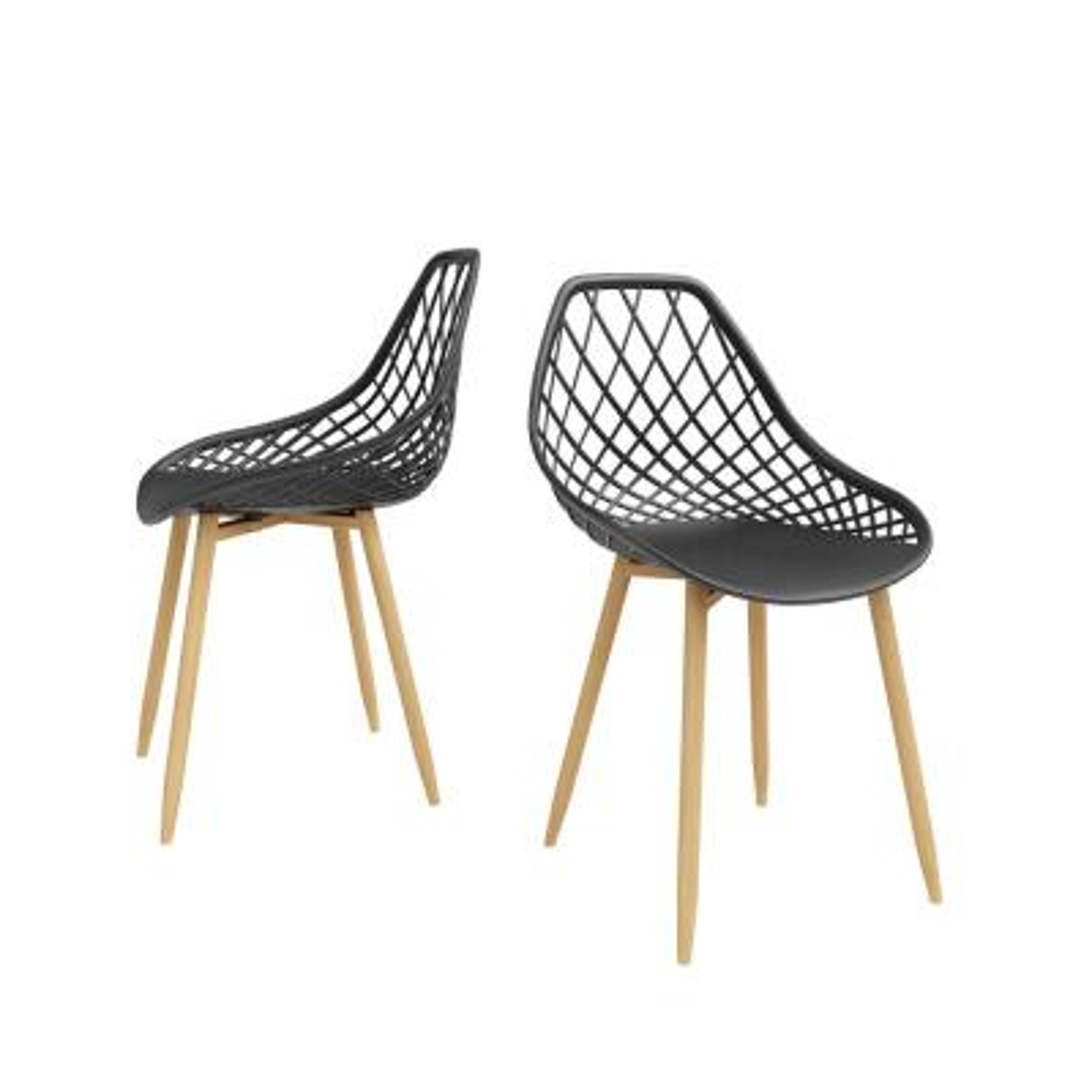 Kurv Black/Natural Dining Chair (Set of 2)