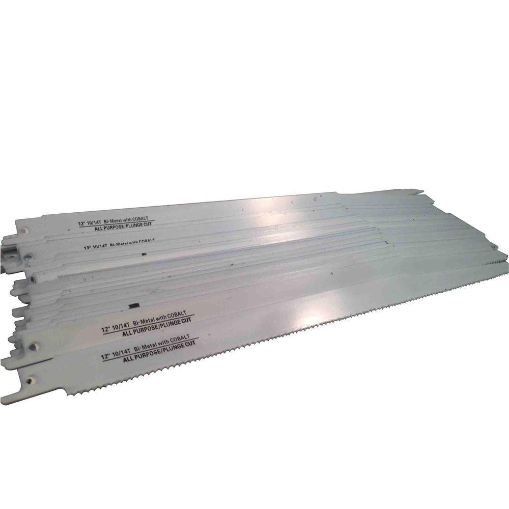 12 in. 10/14 Teeth per in. All-Purpose Cutting Bi-Metal Reciprocating Saw Blade (50-Pack)