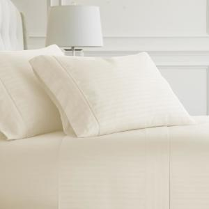 4-Piece Ivory Striped Microfiber Full Sheet Set