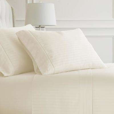 Embossed Striped 4-Piece Ivory Full Performance Bed Sheet Set