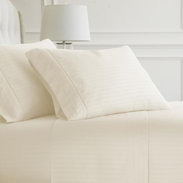Becky Cameron Embossed Striped 4-Piece Ivory Twin Performance Bed Sheet Set