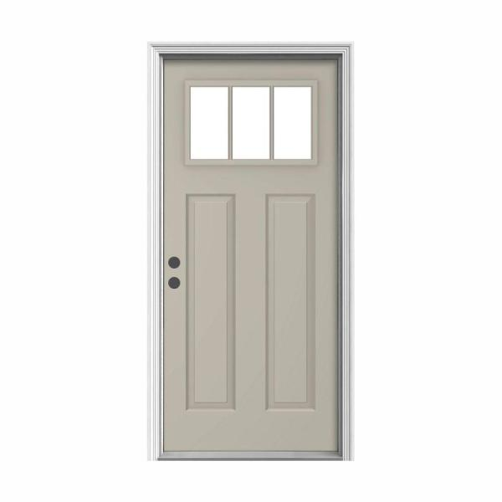 36 in. x 80 in. 3-Lite Craftsman Desert Sand Painted Steel Prehung Right-Hand Inswing Front Door w/Brickmould