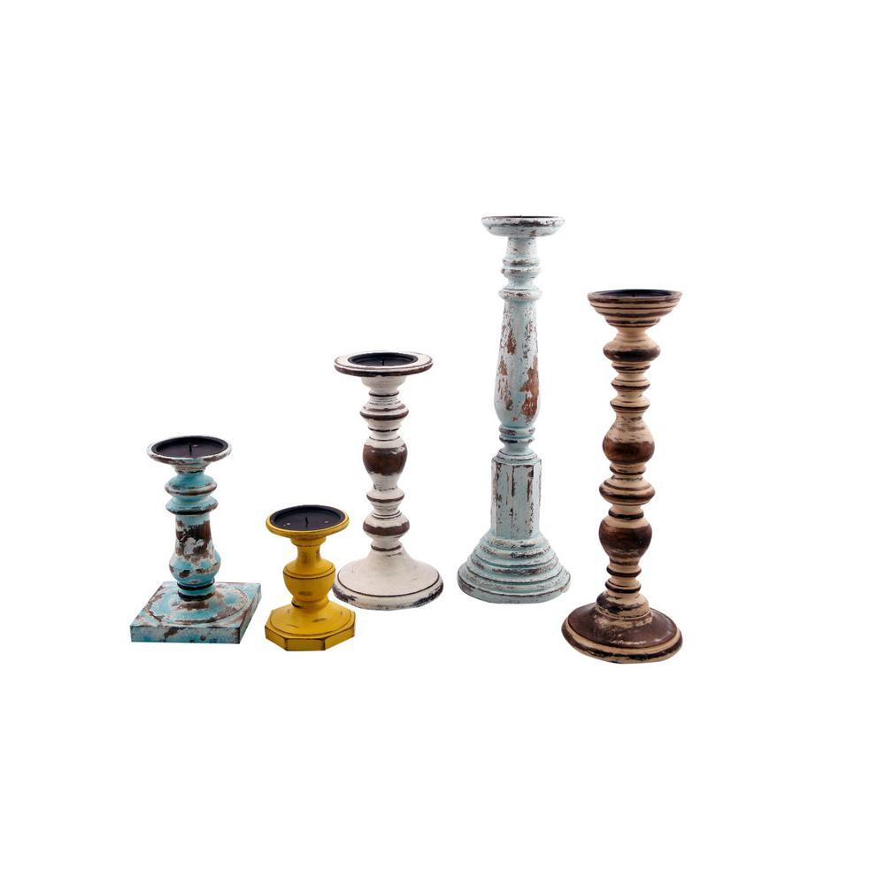 Distressed Multicolor Wooden Pillar Shaped Candleholder (Set of 5)