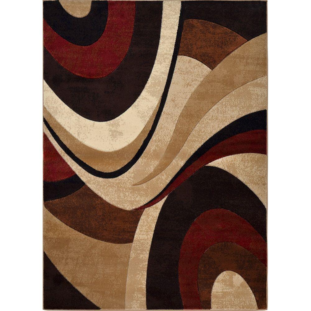 Tribeca Brown/Red 5 ft. 2 in. x 7 ft. 2 in. Indoor Area Rug