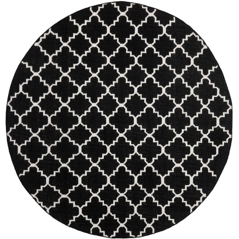 Dhurries Black/Ivory 6 ft. x 6 ft. Round Area Rug
