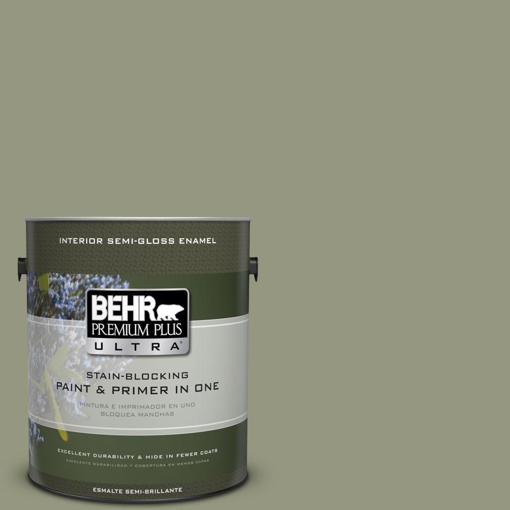 BEHR Premium Plus Ultra 1-gal. #S380-5 Milkweed Pod Semi-Gloss Enamel Interior Paint