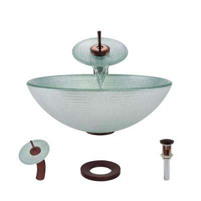 Glass Vessel Sink in Sparkling Silver with Waterfall Faucet and Pop-Up Drain in Oil Rubbed Bronze