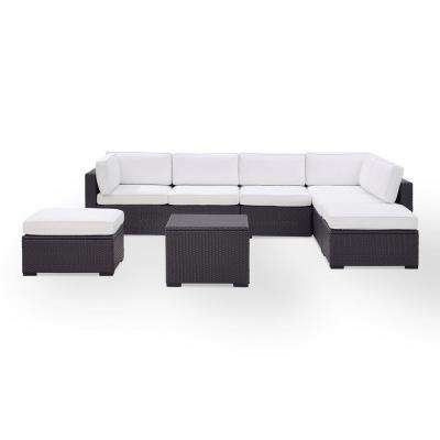 Biscayne 7-Person Wicker Outdoor Seating Set with White Cushions -2 Loveseats, 1 Armless Chair, Coffee Table, 2 Ottomans