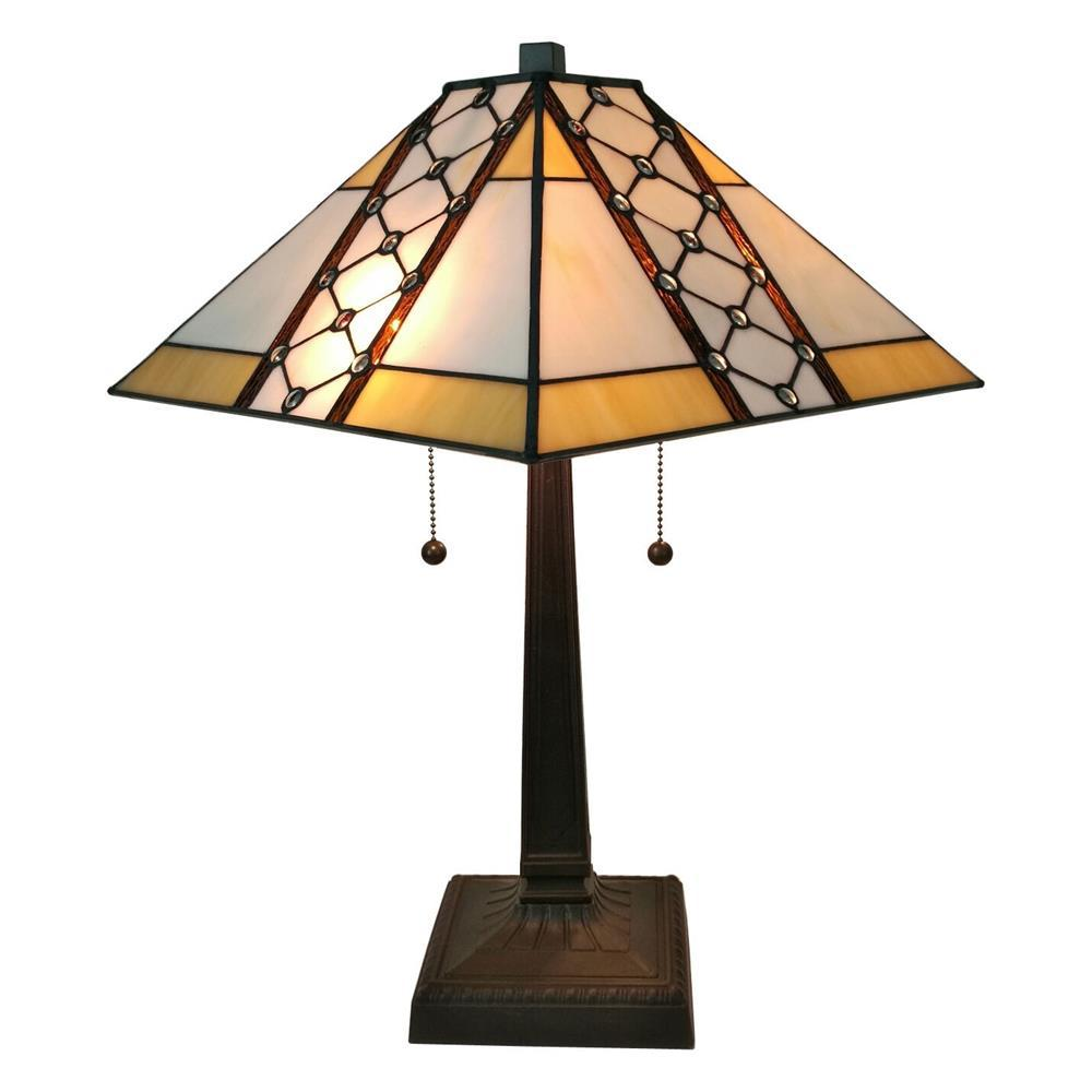Amora Lighting 21 in. Tiffany Style Multicolored Mission Table Lamp