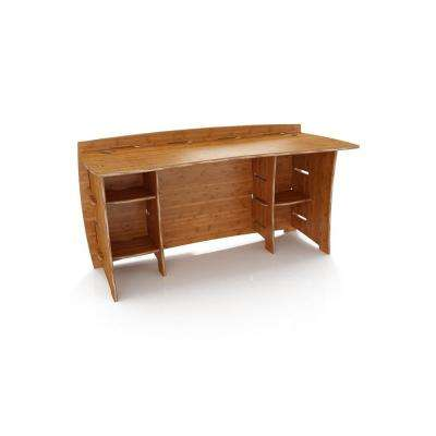 Straight Desk With Solid Wood In Amber Color