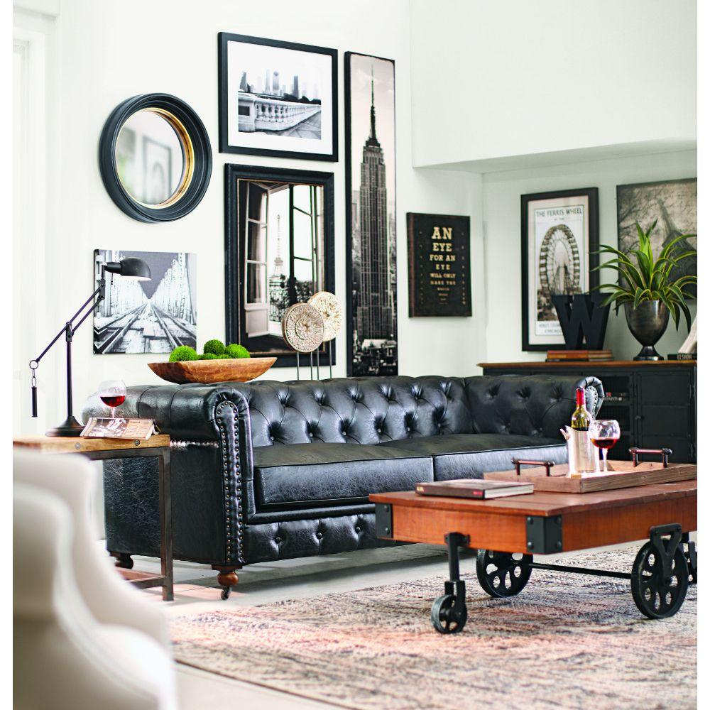 Home Decorators Collection Gordon Black Leather Sofa 0849400700 The Depot