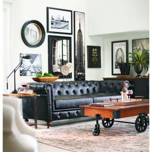 Home Decorators Collection Gordon Black Leather Sofa 0849400700   The Home  Depot