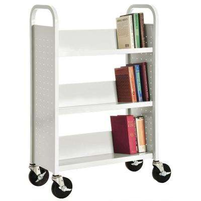 32 in. W x 14 in. D x 46 in. H Single Sided 3-Sloped Shelf Booktruck in White
