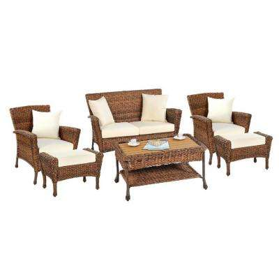 Rustic 6-Piece Wicker Outdoor Conversation Set with Beige Cushions