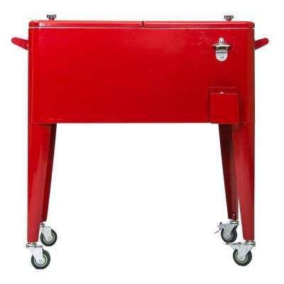 80 Qt. Red Rolling Patio Cooler