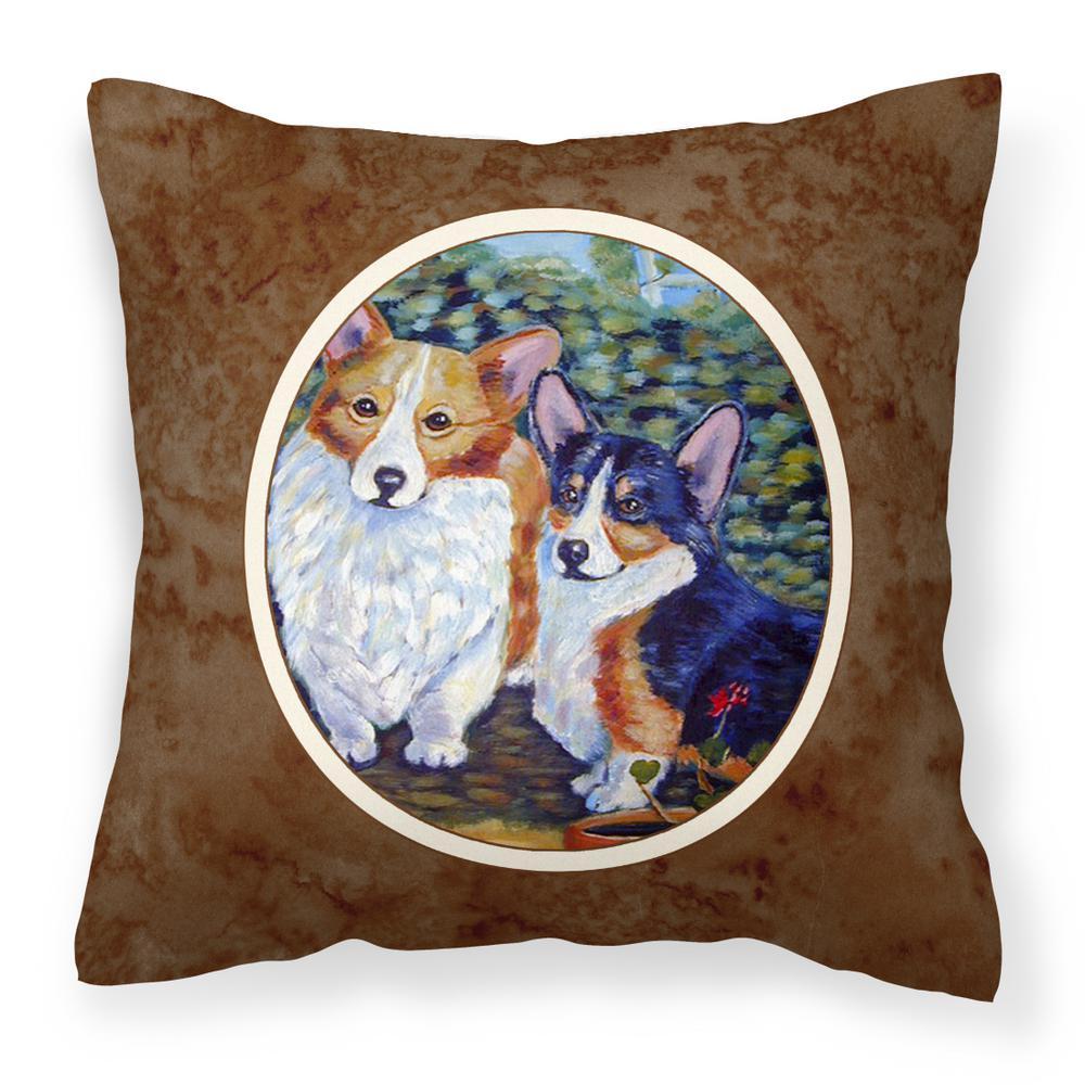 Caroline S Treasures 14 In X 14 In Multi Color Lumbar Outdoor Throw Pillow Cardigan And Pembroke Corgi 7094pw1414 The Home Depot