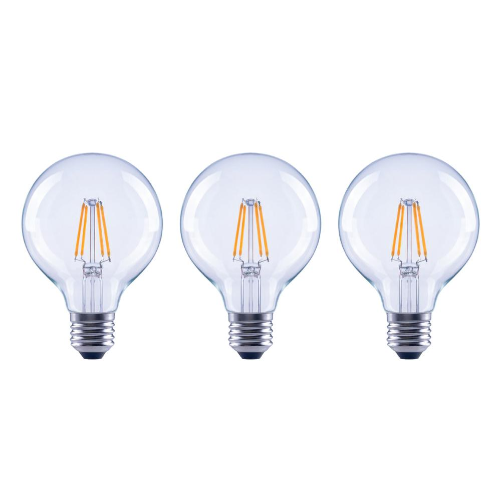 EcoSmart 60-Watt Equivalent G25 Globe Dimmable Energy Star Clear Glass Filament Vintage Style LED Light Bulb Daylight (3-Pack)