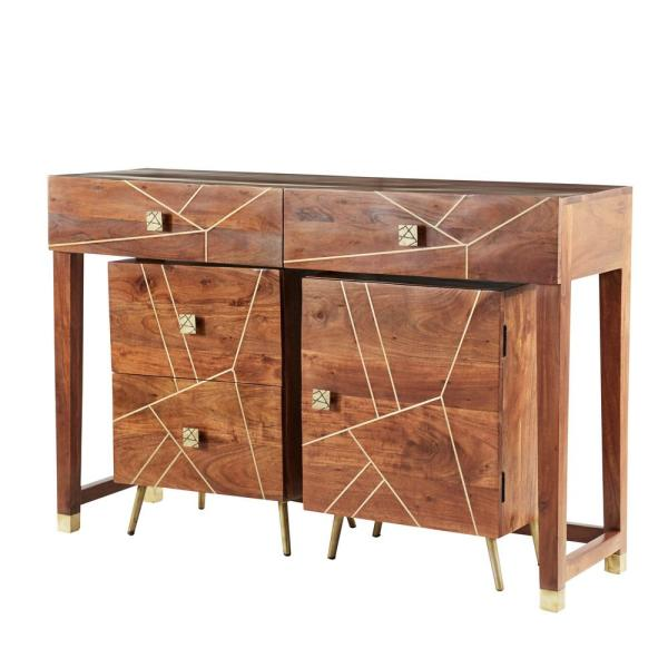 52 in., 19 in. and 19 in. in. Large Modern Natural Wood Console Table with 2-Drawer, 2-Layer Storage Cabinet (Set of 3)