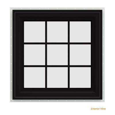 36 in. x 36 in. V-4500 Series Black FiniShield Vinyl Right-Handed Casement Window with Colonial Grids/Grilles