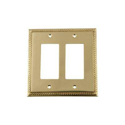 Rope Switch Plate with Double Rocker in Polished Brass