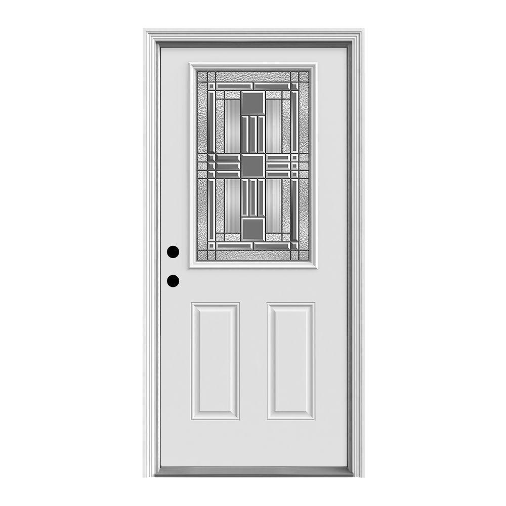Jeld Wen 32 In X 80 In 1 2 Lite Cordova Primed Steel Prehung Right Hand Inswing Front Door W