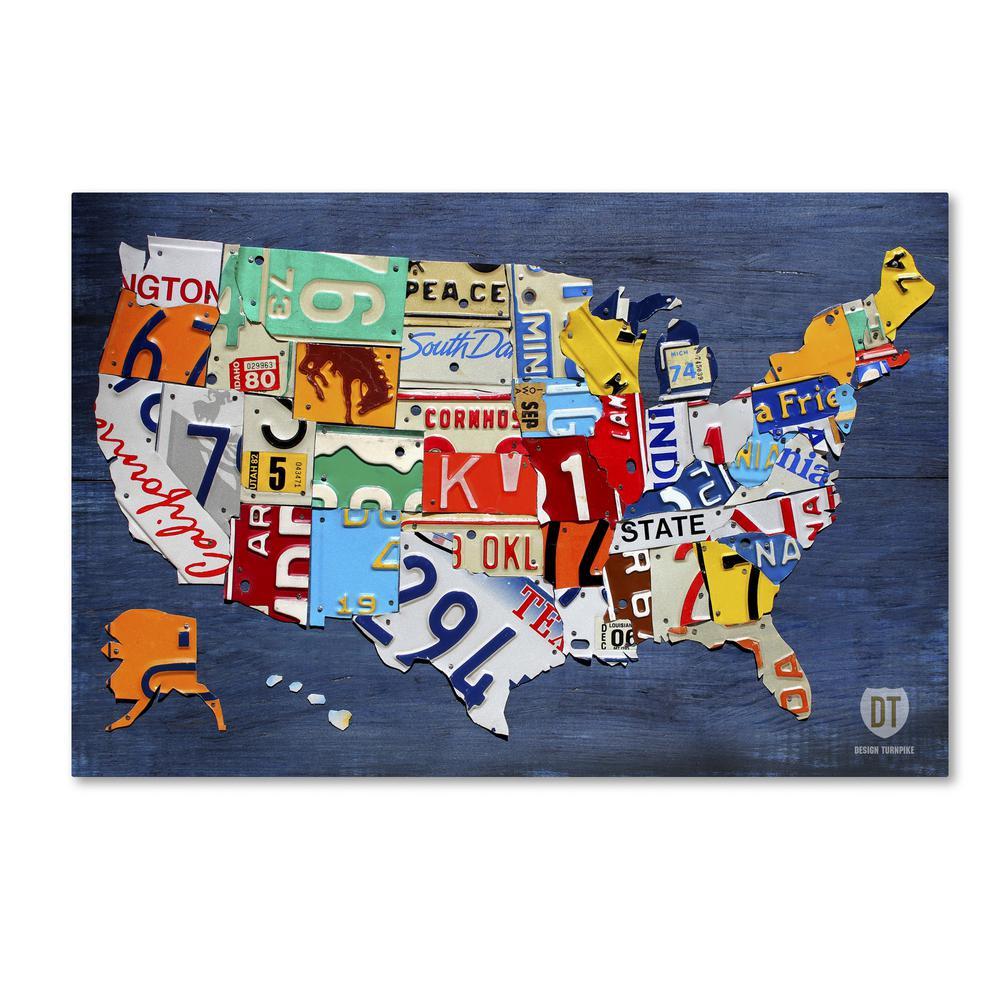 Trademark Fine Art 16 In X 24 In Usa Map By Design Turnpike
