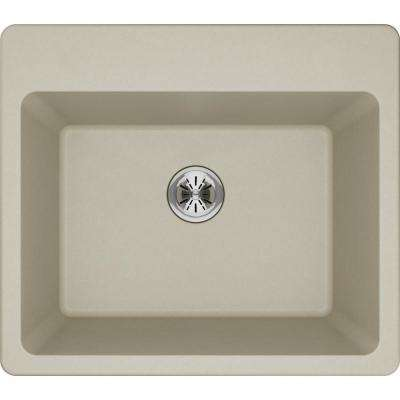 Quartz Classic Perfect Drain Drop-In 25 in. Laundry Sink in Bisque