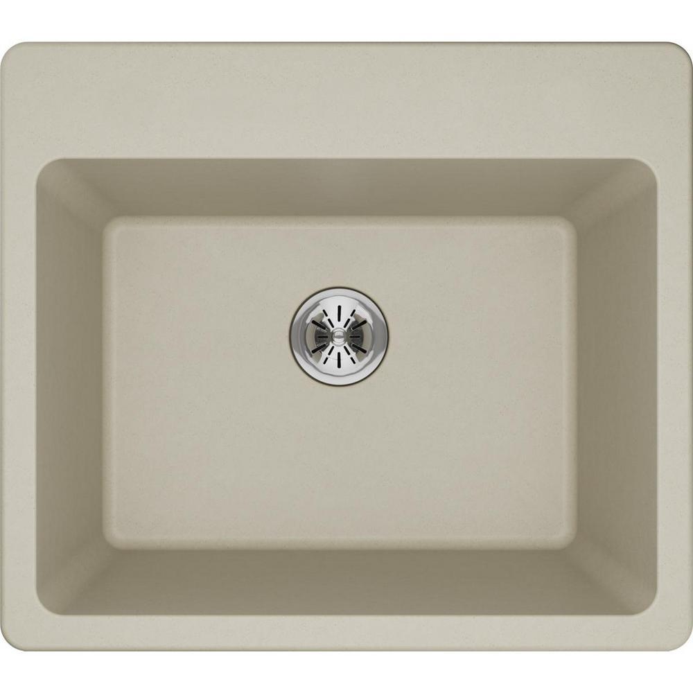 Quartz Classic Perfect Drain Drop-In 25 in. Laundry Sink in Bisque