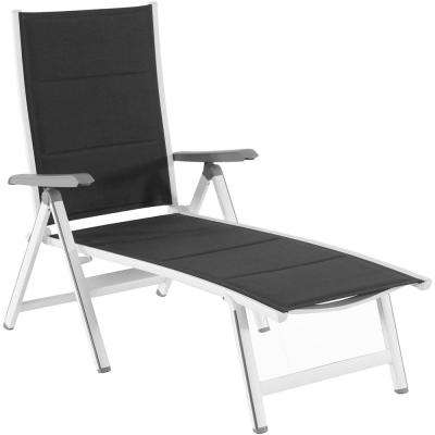 Regis Gray Padded Sling Outdoor Chaise Lounge in White Sling