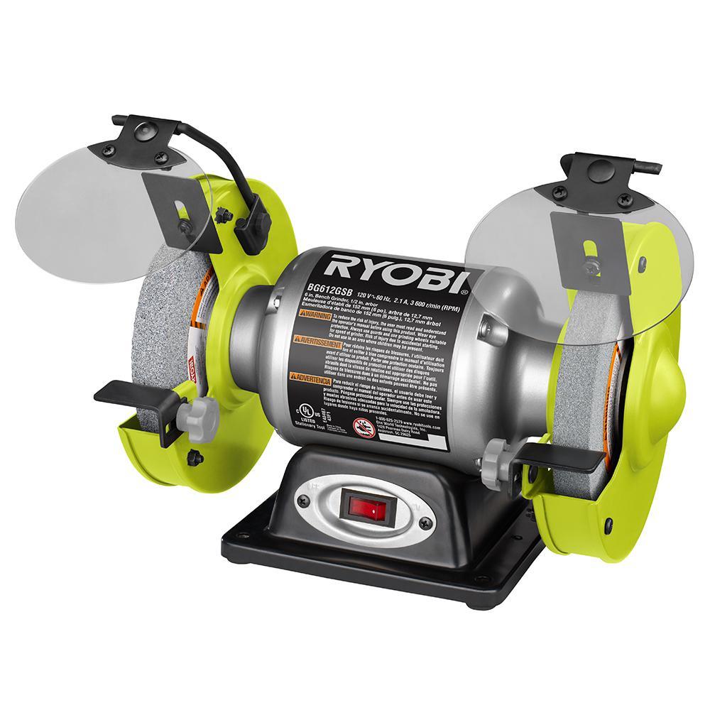 Ryobi 2 1 Amp 6 In Bench Grinder Bg612gsb The Home Depot
