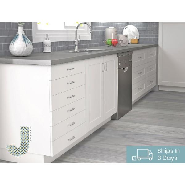 J Collection Shaker Assembled 15x34 5x24 In 4 Drawer Base Cabinet With Metal Drawer Boxes In Vanilla White B4d15 Ws The Home Depot