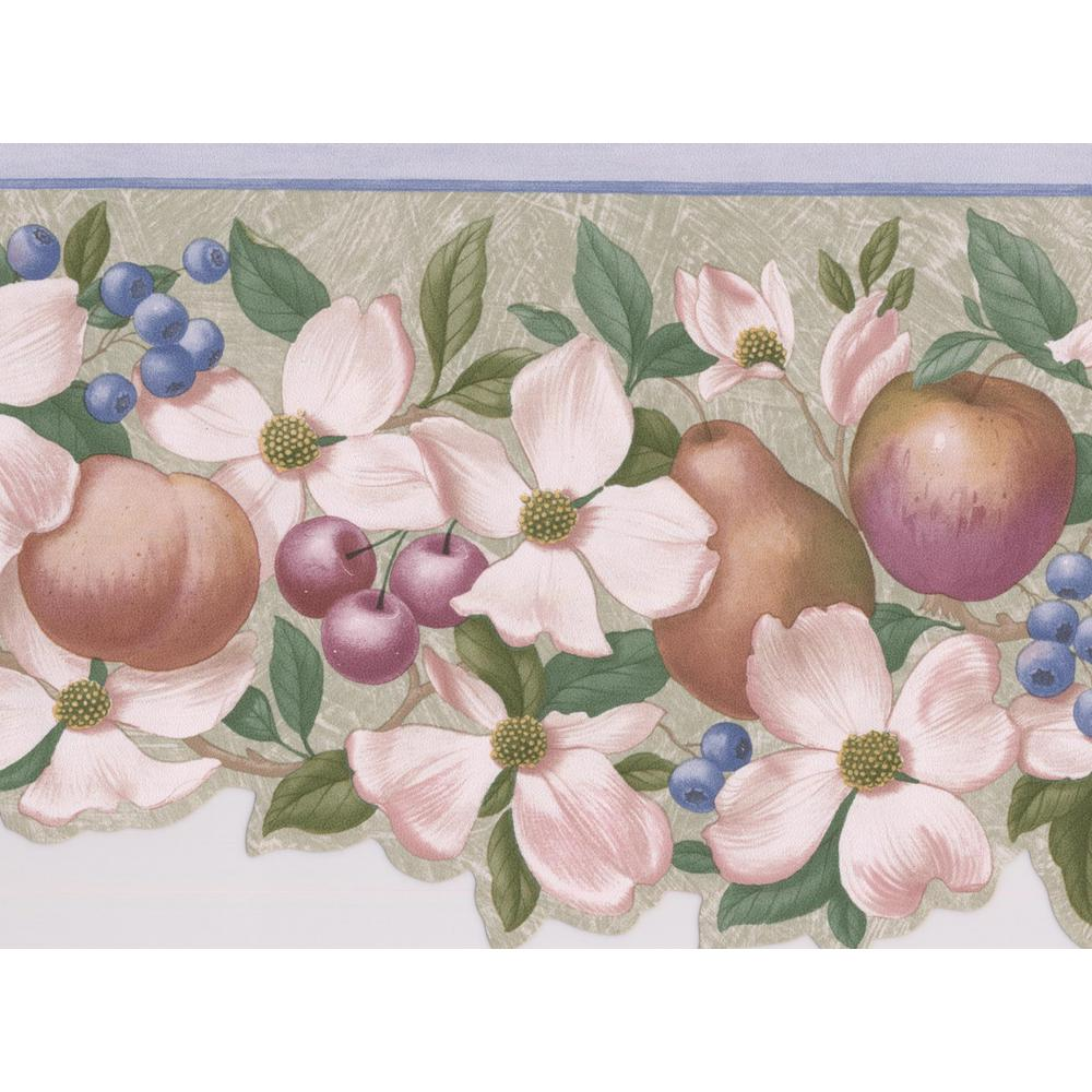 Retro Art Beige Flowers Pears Apples Berries Floral Prepasted