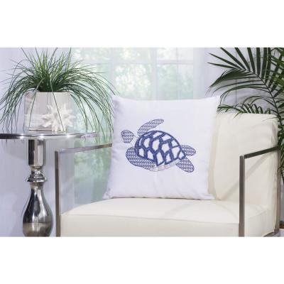 Sea Turtle White Graphic Stain Resistant Polyester 18 in. x 18 in. Throw Pillow