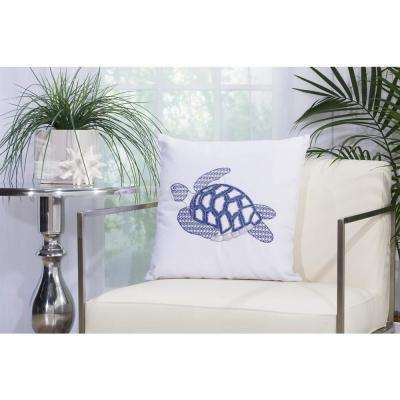 Sea Turtle 18 in. x 18 in. White Indoor and Outdoor Pillow