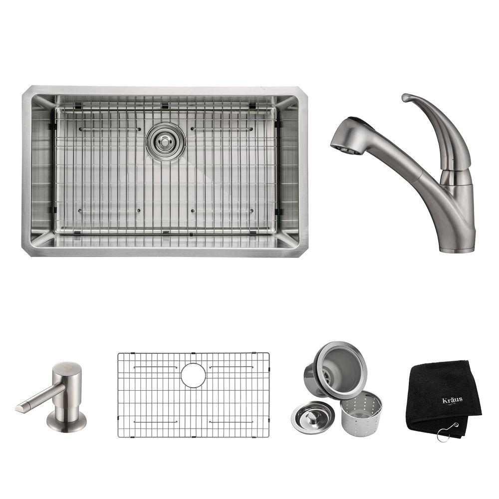 KRAUS All-in-One Undermount Stainless Steel 30 in. Single Basin Kitchen Sink with Faucet and Accessories in Stainless Steel