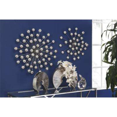 Uniquely Styled Silver Ceramic Decorative Fan Vase