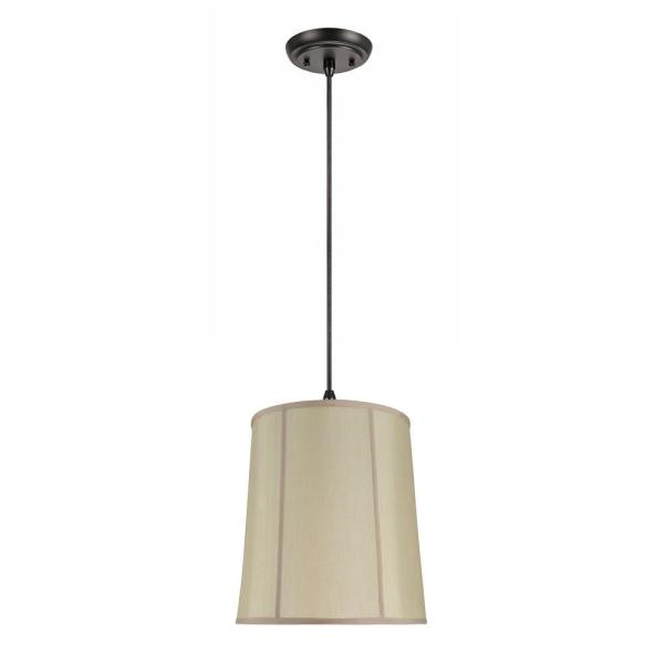 1-Light Oil Rubbed Bronze Pendant with Gold Empire Fabric Shade