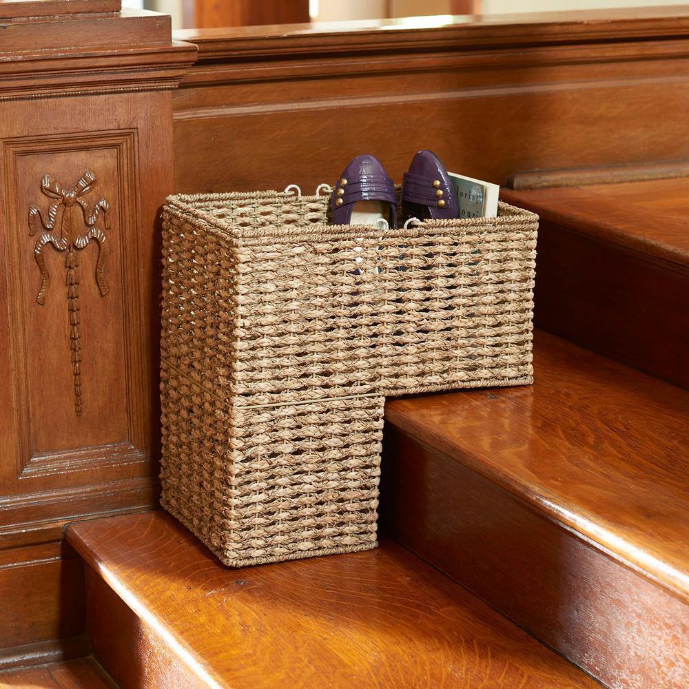 Seagrass-Corn Husk 2-Tone Wicker Stairstep Basket
