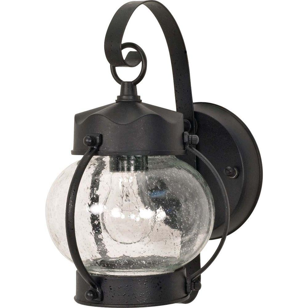 Glomar 1-Light Outdoor Textured Black Wall Lantern Onion