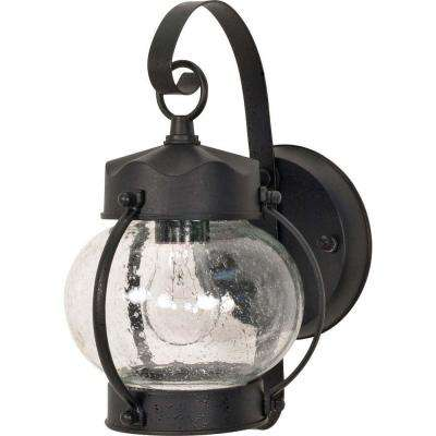 1-Light Outdoor Textured Black Wall Lantern Onion Lantern with Clear Seed Glass