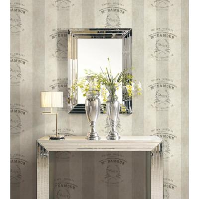 Newcastle Crest Metallic Pearl and Charcoal Striped Wallpaper